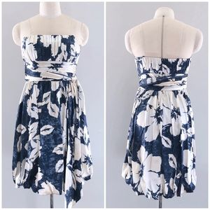 BCBGMaxAzria Silk blue Floral Bubble Dress A014